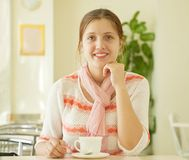 Woman with a cup of tea Stock Photos