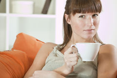 Woman with cup tea Royalty Free Stock Photos