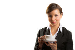 Woman with cup of tea Stock Images