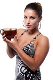 Woman with cup of tea Stock Image
