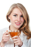 Woman with cup of tea. Business woman with cup of tea isolated on a white background stock image