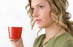 Woman with cup of tea. In hand Stock Image