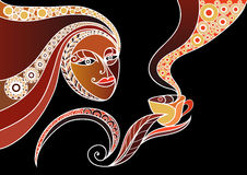 Woman with a cup of tea or coffee 8. Vector illustration of a girl. Young woman holding a cup of tea or coffee Stock Photos