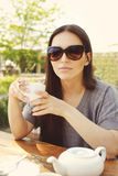 Woman with cup of tea Royalty Free Stock Photos