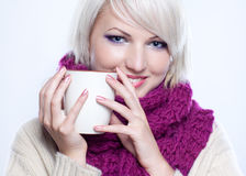 Woman with cup of tee Stock Photography