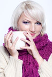 Woman with cup of tee Stock Images
