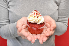 Woman with cupcake in hands Royalty Free Stock Image