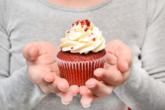 Woman with cupcake in hands Stock Image