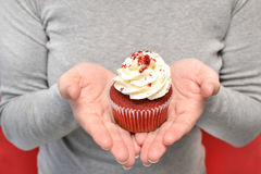 Woman with cupcake in hands Stock Photos