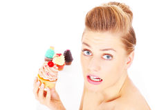 Woman and cupcakes Royalty Free Stock Photo