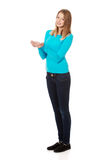 Woman with cupped hands Stock Image