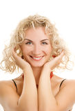 Woman with curl hair. Beautiful young woman with curl hair Stock Image