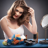 Woman with curler hair Royalty Free Stock Photography