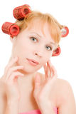Woman in curlers Stock Photography
