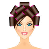 Woman with curlers Stock Photo
