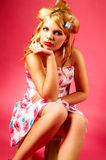 Woman with curlers Stock Image