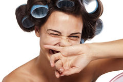 Woman with curlers Royalty Free Stock Photo