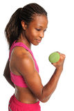 Woman Curling Dumbbell Royalty Free Stock Images