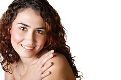 Woman with curly brown hair royalty free stock image
