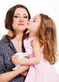 Woman and curly girl Royalty Free Stock Images