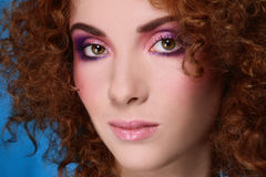 Woman with curly hair Royalty Free Stock Image