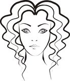 Woman with curly hair. Woman with longest and hottest hair drawn by brush Royalty Free Stock Images