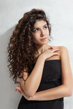Woman with curly hair Stock Photo