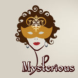 Woman  with curly hair in mask Stock Images