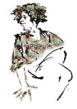 Woman with curly hair sitting. Raster illustration over a white background Royalty Free Stock Image