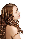 Woman with curly hairs Royalty Free Stock Images