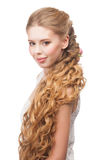 Woman with Curly Long Hair Stock Photos