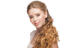 Woman with Curly Long Hair Royalty Free Stock Image