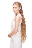 Woman with Curly Long Hair Stock Images