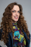 Woman with curly long hair Stock Image