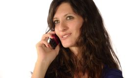 Woman in current of telephone conversation stock video