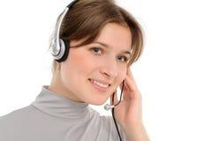 Woman customer service representative in headse Stock Photo