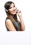 Woman customer service worker with big blank board Royalty Free Stock Photography