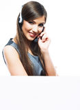 Woman customer service worker with big blank board Royalty Free Stock Photos
