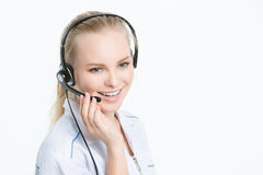Woman customer service worker, call center Royalty Free Stock Photos