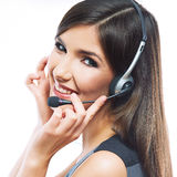 Woman customer service worker, call center smiling Royalty Free Stock Image