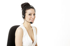 Woman customer service worker, call center smiling operator with Stock Photo