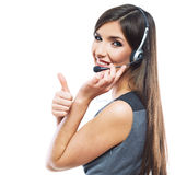 Woman customer service worker, call center smiling Royalty Free Stock Images