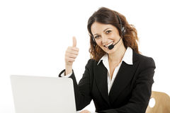 Woman customer service worker, call center smiling operator Stock Image