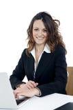 Woman customer service worker, call center smiling operator Stock Photos