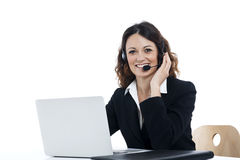 Woman customer service worker, call center smiling operator Royalty Free Stock Image
