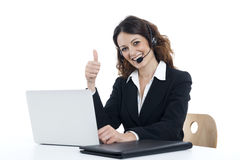 Woman customer service worker, call center smiling operator Royalty Free Stock Photography