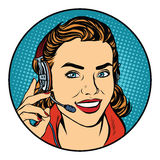 Woman customer support operator. Pop art retro vector, realistic hand drawn illustration. The smile on the face Royalty Free Stock Photos