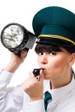 Woman from customs control Royalty Free Stock Photos