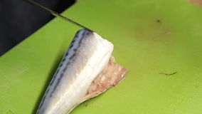 A woman cut the mackerel into pieces stock video footage