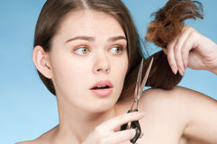 Woman that cut perfect hair Royalty Free Stock Images